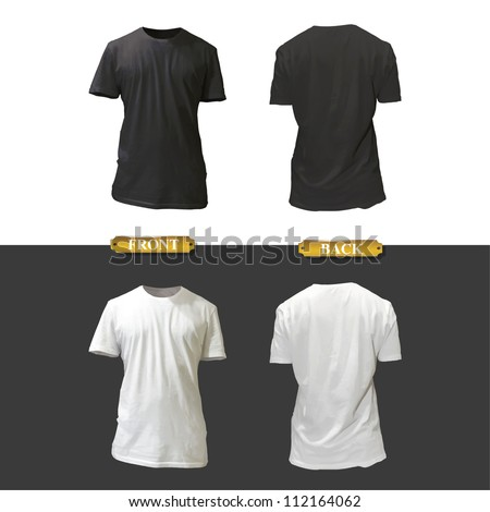 Empty white and black shirt design. Realistic vector illustration. - stock vector