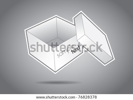 Empty white box with cover vector illustration - stock vector
