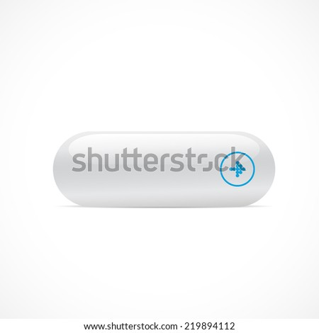 Empty white button isolated on white background - stock vector