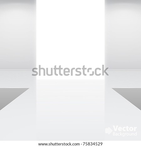 Empty white interior â?? fashion podium. Vector illustration - stock vector