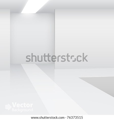 Empty white interior. Fashion podium. Vector illustration - stock vector