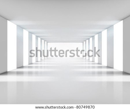 Empty white interior. Vector illustration. - stock vector
