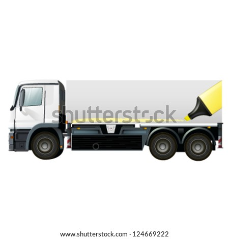 empty white lorry to place your idea. vector design - stock vector