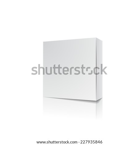 Empty white package blank with reflection for box design, vector illustration - stock vector