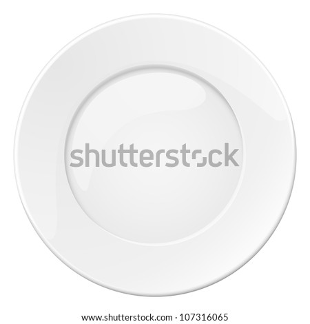 Empty white plate. Illustration on white background