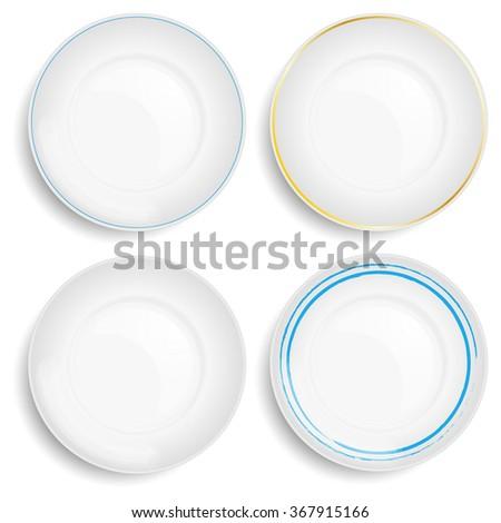 Empty white plate. Illustration on white background - stock vector