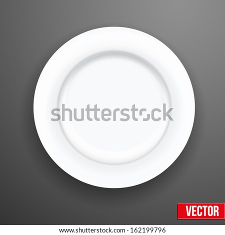 Empty white plate isolated from the background. Vector illustration on a kitchen theme - stock vector