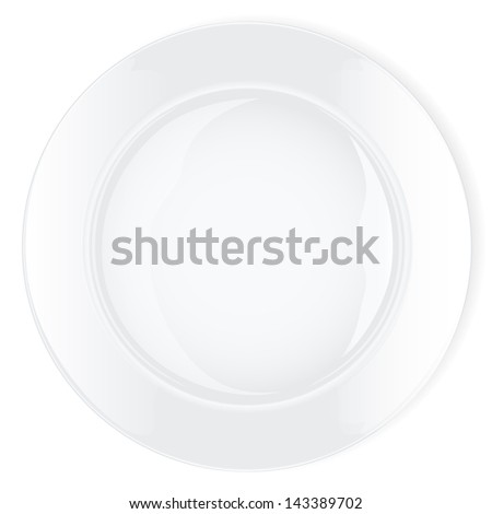 Empty white plate on white background. Vector illustration