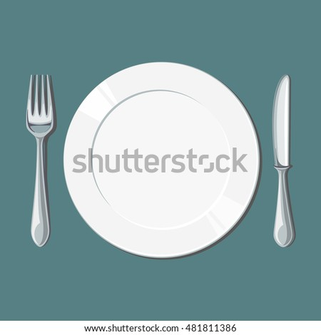 Empty white plate with knife and fork. Vector illustration