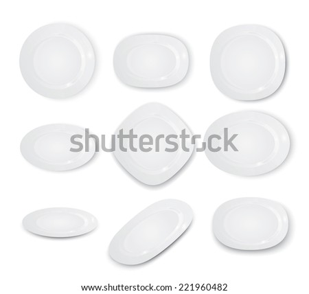 Empty white plates set isolated on the white background, vector illustration - stock vector