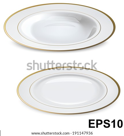 Empty white plates with gold rims isolated on white. Vector illustration - stock vector