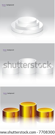 Empty white podiums on gray background. Vector format - stock vector