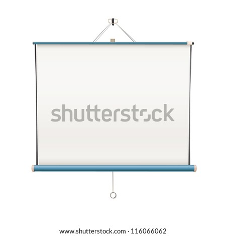 Empty white projector screen hanging from wall. isolated vector design. - stock vector