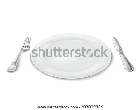 Empty white realistic dinner plate with knife and fork isolated on white background vector illustration - stock vector
