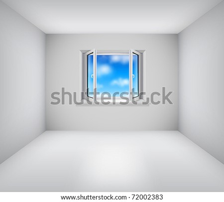 Empty white room with open window and blue sky - stock vector