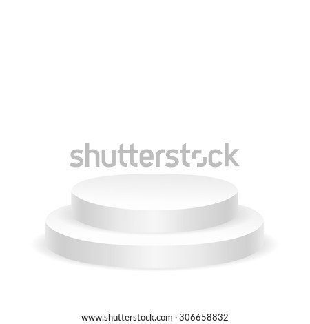 Empty white round podium isolated on white background - stock vector