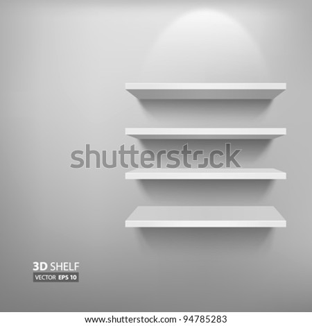 Empty white shelf for exhibit, vector illustration - stock vector