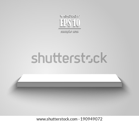 Empty white shelf hanging on a wall. EPS10 vector. - stock vector