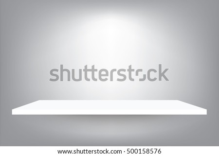 Empty white shelf on gradient light gray background