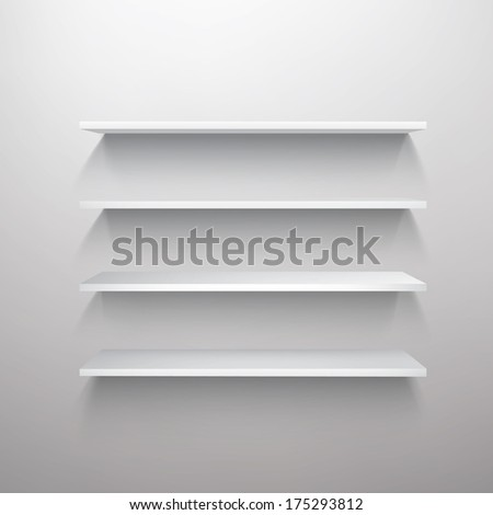 Empty white shelf vector illustration - stock vector