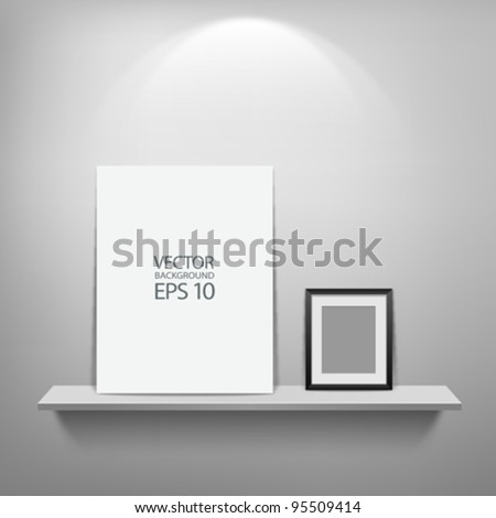 Empty white shelf with black and white frame, vector illustration - stock vector