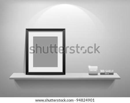 Empty white shelf with blank photo frame, vector illustration - stock vector