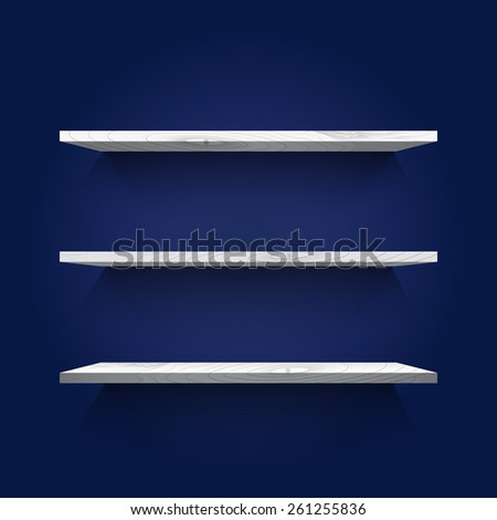 Empty white shelves on the dark blue background. Vector illustration - stock vector