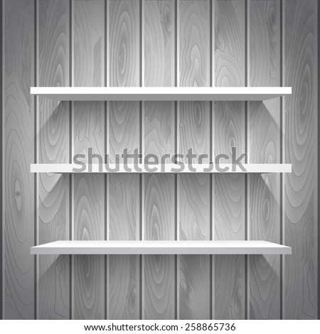 Empty white shelves on the wooden wall in gray colors, vector background