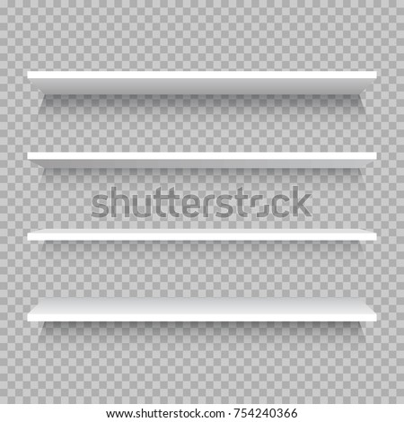 Empty white shop shelf, retail shelves from plywood frame. Realistic vector bookshelf rectangle, 3d store wall display illustration on checkered background
