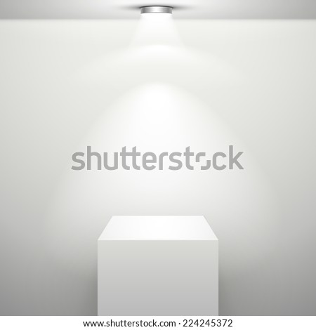 empty white stand with illumination isolated in the room - stock vector