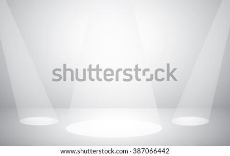Empty white Studio room photo with spotlight.Stage show background  - stock vector