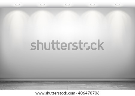 Empty white wall and spotlights. Interior empty room. Vector illustration EPS 10. Horizontal background. - stock vector