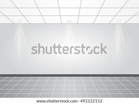 Empty white wall with 3 spot lights