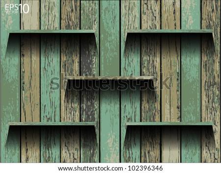Empty wood shelf. grunge industrial interior Uneven diffuse lighting version. Vector Design component - stock vector