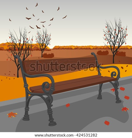 Empty wooden bench in the city park in autumn - stock vector