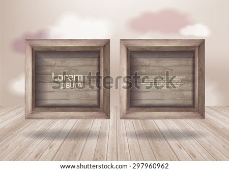 Empty wooden box  on  background with clouds.  wooden texture - stock vector