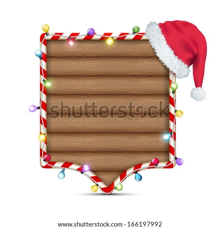 empty wooden frame with santa claus hat - stock vector