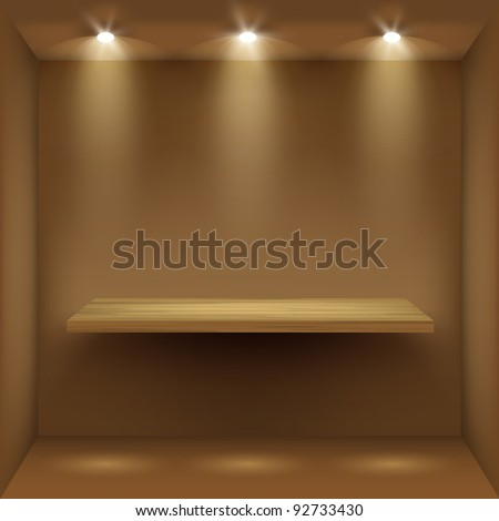 Empty wooden shelf in room, illuminated by searchlights. Part of set.  Vector interior. - stock vector