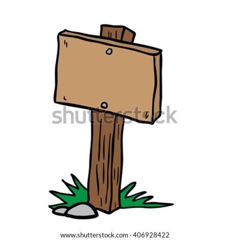 empty wooden sign cartoon illustration - stock vector