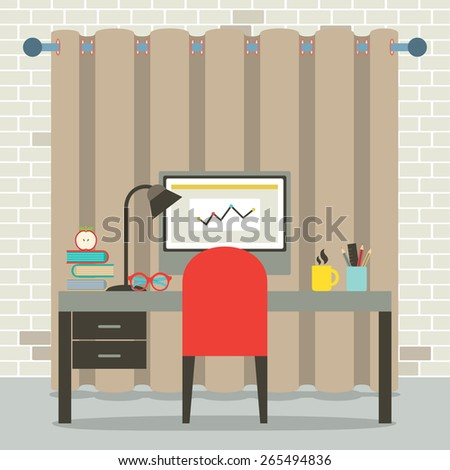 Empty Workplace Flat Design Vector Illustration