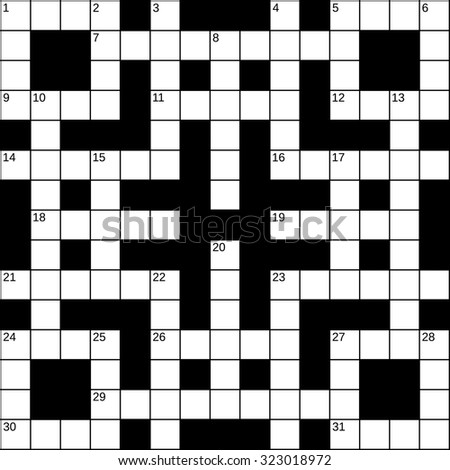 Empty 15x15 Squares British Style Crossword Grid For 31 Words With Numbers White Cells