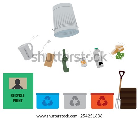 emptying of trash can with various items to be recycled   - stock vector
