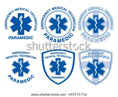 EMT Paramedic Medical Designs is an illustration of six EMT or paramedic designs with star of life medical symbols. - stock vector