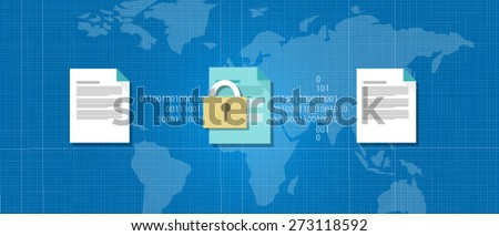 encryption decrypt cryptography data protection key - stock vector