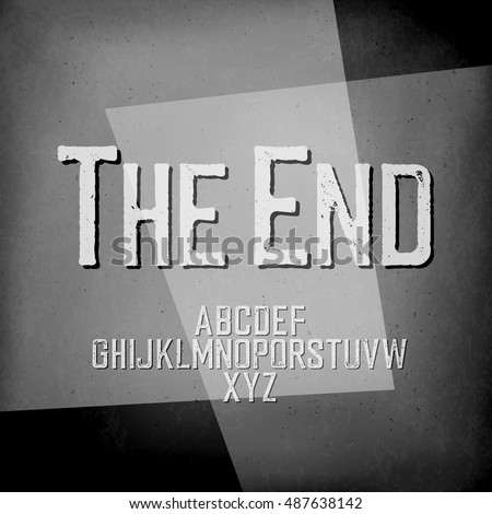"End Credits. Film noir styled abstract screen. ""The End"" Title Vector Background. Old cinema background."