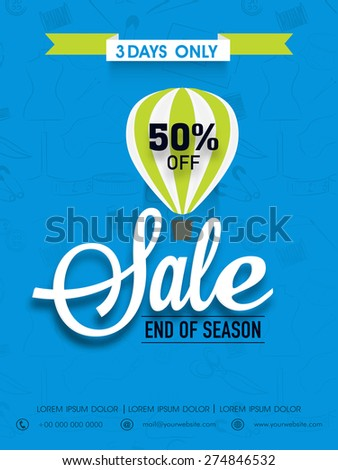 End of season sale flyer, banner or template with discount offer. - stock vector