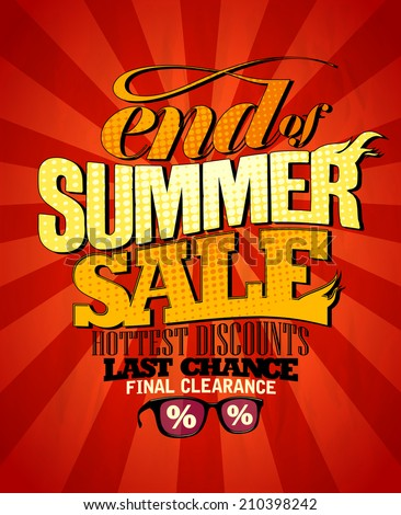 End of summer sale design, hottest discounts. Eps10 - stock vector