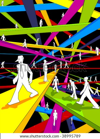 endless and colorful labyrinth of bridges and confused businessmen - stock vector