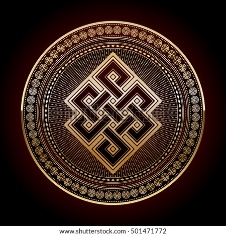 Endless knot, a golden colored vector illustration with one of cultural symbol of buddhism endless knot