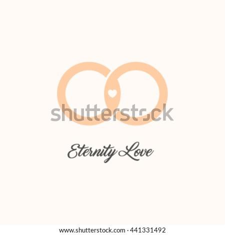 Endless love vector logo. Wedding gold rings. Eternity isolated symbol. Unusual design logotype.  - stock vector